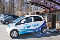 山中湖観光案内所に電気自動車の充電スタンド誕生。