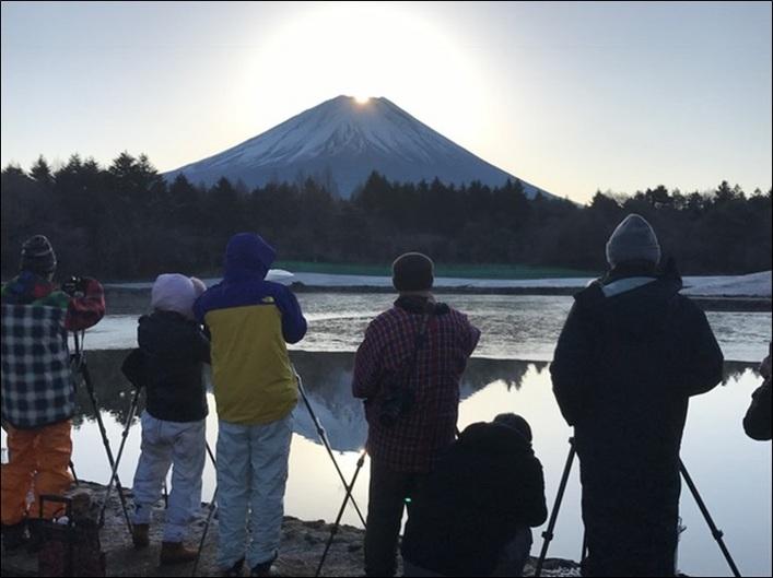富士本栖湖リゾートでダイヤモンド富士 池の水面に写るダブルダイヤモンド富士も